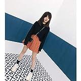 WEDFGX Lindo Dulce de Las Mujeres de Gran tamaño de Cintura Alta Naranja a Cuadros una Mini Falda de Moda Xs-5Xl