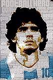 nr Diego Maradona Argentina Estrella de fútbol Pegatina de Pared póster de Seda Arte Lienzo Ligero decoración del hogar-40x60cm sin Marco