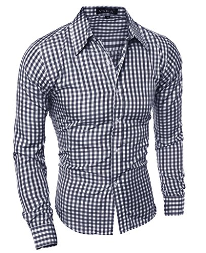 Slim Fit Dress Shirts for Men Long Sleeve Plaid Formal Casual