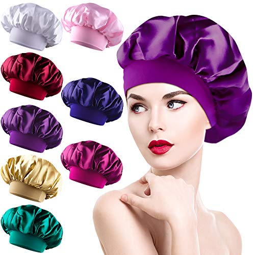 Duufin 8 Packs Sleep Cap Satin Bonnets Hair Loss Cap Night Cap Salon Sleep Bonnet Hat for Women, 8 Colours