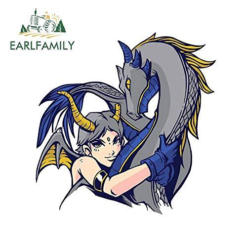 FAFPAY Autoaufkleber 13 cm x 12,7 cm für Dragon Hug Demonic Fantasy Girl Autoaufkleber Windschutzscheibe Motorrad Aufkleber Cartoon wasserdichte Grafiken