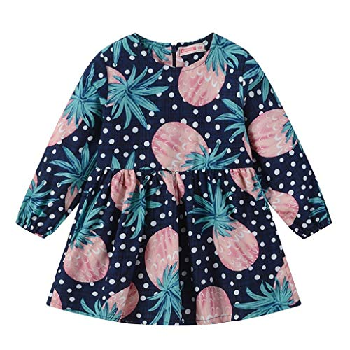 cinnamou cinnamou Mädchen Langarm Dot Fruit Zipper Princess Dresses Clothes 90-130