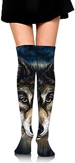 Calcetines de tubo con estampados de lobo realistas para mujer Medias altas hasta el muslo de la rodilla para niñas 65 cm / 25,6 pulgadas