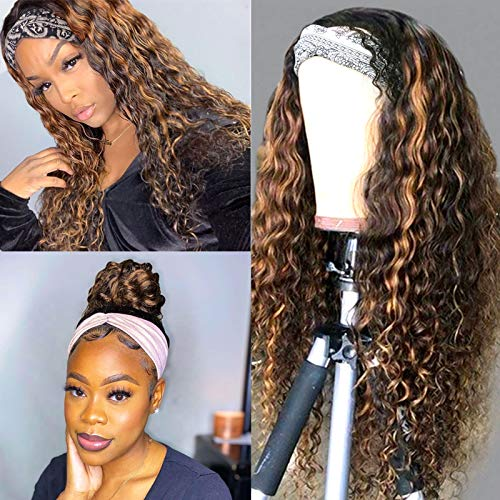 Highlights Headband Wig Human Hair Curly None Lace Front Wigs Deep Wave Natural Human Hair Wig Headband Attached Balayage Black with Auburn Highlights Wigs for Women 150% Density Glueless 20 Inch
