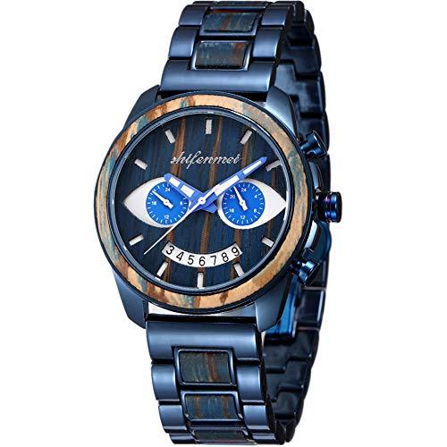 Holzuhren, shifenmei 5589 Holzuhren für Herren Analoges Quarz Japanisches Uhrwerk Armband aus Holz und Edelstahl Handgefertigte Multifunktions-Retro-Herrenuhr mit exquisiter Box (Zebra Wood-B)