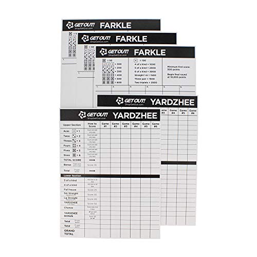 Get Out! Giant Yard Dice Laminated Score Keeper Cards Large 5pk – Jumbo Outdoor Lawn Game Dice Point Pads Game Sheets