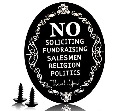 """No Soliciting Sign for House Metal 5"""" X 4"""" Laser Engraving Anodized Aluminum Never Change Color (Black)"""