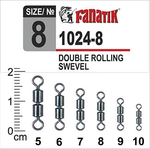 FANATIK 5xDoppelwirbel 1024 Double Swivel Angel Wirbel Gr. 10, 9, 8, 7, 6, 5 (Schwarz, 9: 11mm - 16kg)