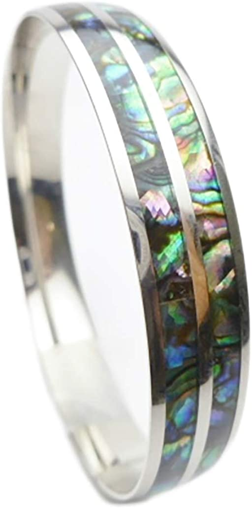 316L Stainless Steel Minneapolis Mall Comfort Fit Paua Inla Max 50% OFF Abalone Natural Shell