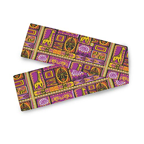 TropicalLife F17 Camino de mesa rectangular de poliéster de jirafa étnica africana animal de 33 x 228 cm, decoración de mantel para boda, cocina, fiesta, banquete, comedor, hogar, mesa de café