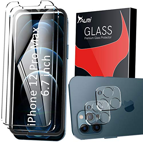 TAURI 4 Pack Compatible with 2 Pack iPhone 12 Pro Max Screen Protector 6.7 inch and 2 Pack Camera Lens Protector Tempered Glass Military Grade Shatterproof Easy Installation Frame Bubble Free - Clear