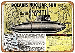 Tin Sign 8x12 Inches Polaris Nuclear Sub Toy Retro Wall Decoration Funny Sign for Bar Yard Garden Coffee Home Gifts Art Decor