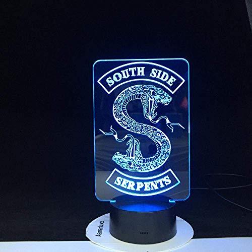 Niños 3D noche luz sur lado serpiente serpiente logotipo serie TV Riverdale dormitorio decoración amigo regalo cumpleaños lámpara mesa 16 colores