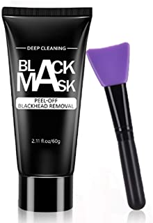 HailiCare Blackhead Remover Face Mask, Charcoal Peel Off Mask Deep Cleaning and Purifying, Bamboo Activated Charcoal Mask for Face and Nose, Black Facial Mask with Brush for All Skin Types