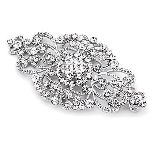 Mariell Vintage Bridal Crystal Brooch Pin - 4