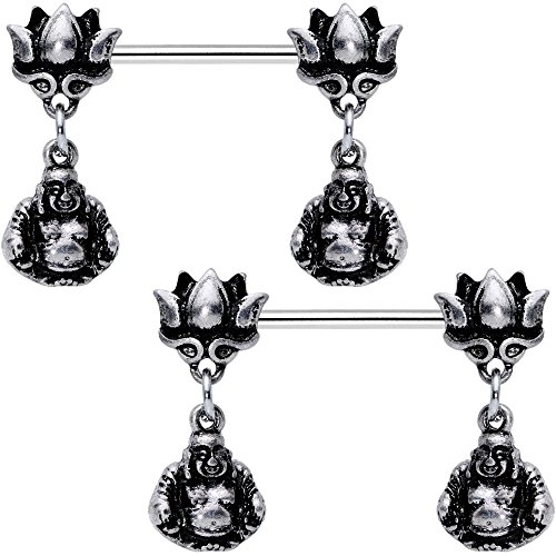 Body Candy Steel Inner Strength Buddha and Lotus Flower Barbell Nipple Ring Set of 2 14 Gauge 5/8'