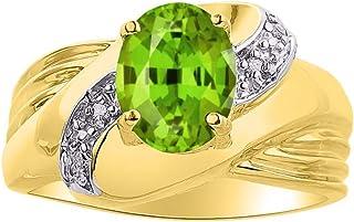 Diamond & Peridot Ring Set in 14K Yellow Gold