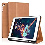 Boriyuan Leather Case for iPad 9.7 2018(6th Gen)/2017(5th Gen)/iPad Pro 9.7/iPad Air 2 &1- Leather Smart Cover Protective Folio Flip Stand with Built-in Apple Pencil Holder Auto Sleep/Wake(Brown)