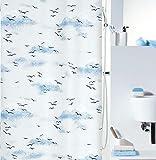 Spirella Anti-Schimmel Duschvorhang Annick Sorrento Anti-Bakteriell, waschbar, wasserdicht Peva 120x200cm Weiß/Blau