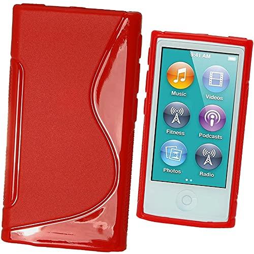 igadgitz U2007 Case TPU Gel Funda Cover Carcasa y Protector de Pantalla Compatible con Apple iPod Nano 7ª Gen 16GB - Rojo