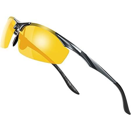 Glazata 偏光スポーツサングラス 変色調光偏光グラス 昼夜兼用・超軽量メタル UV400 紫外線カット ドライブ/野球/自転車/夜釣り/ランニング/ゴルフ/運転 男女兼用