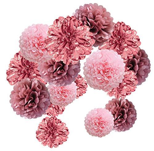 15pcs Papier Fleur Pompon Boule à Suspendre 8',10',12' Or Rose décor Mariage fête