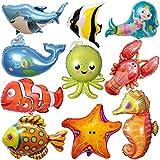 ZQBB 10 globos de peces marinos para niños, decoración de cumpleaños
