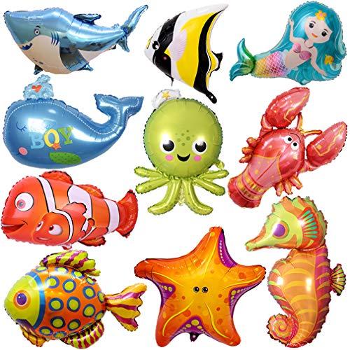 ZQBB Meerestiere Fisch Folienballon 10 Stück Fisch Luftballons für Kinder Geburtstag Party Dekoration