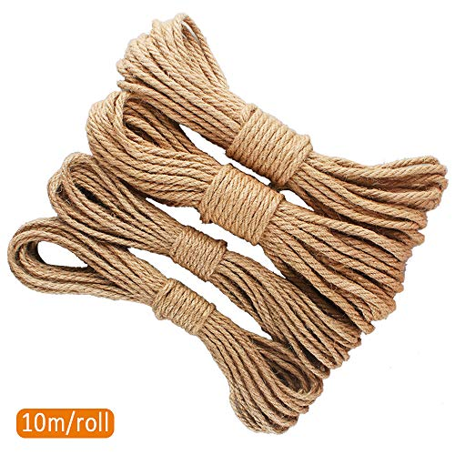 Cuerda de Yute para Decoración 4 pcs Cuerda de Cáñamo Natural Vintage 10m Cordón y Cuerda de Cáñamo para Artesanía y Decoración, 6mm, 4mm