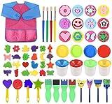 Infantil Herramientas De Pintura De Esponja Con Delantal De Manga Larga Y Pinceles De Patrón Pinceles De Pintura Kit De Herramientas Para Pintura Educativa,61PCS