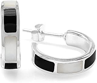 Silvershake White Gold Plated 925 Sterling Silver Stone Inlay C Hoop Earrings
