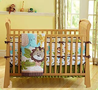 Wowelife Safari Nursery Bedding Upgraded Jungle Crib Bedding Set 7 Piece Lion and Elephant Baby Sets with Bumpers(Brown-7 Piece)