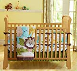 Wowelife Safari Nursery Bedding Upgraded Jungle Crib Bedding Set 7 Piece Lion and Elephant Baby Sets(Brown-7 Piece)