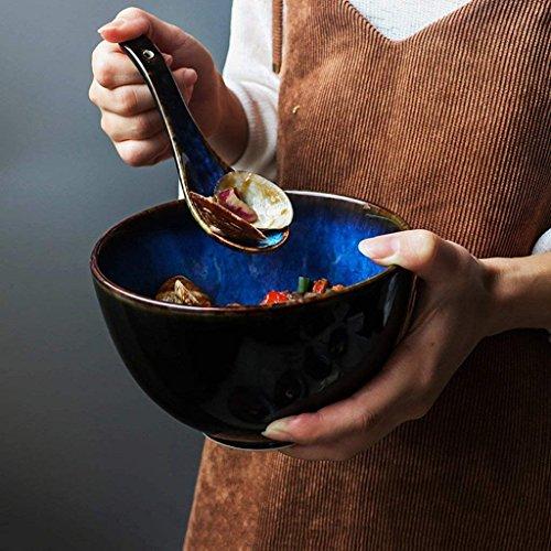 WEI-LUONG Comedor Estilo de Cubiertos de cerámica Azul Plato de Sopa Ramen Sopa Cuchara Retro Cuenco Plato de Arroz 700ml Creativo japonés (Color: Bowl) Cocina