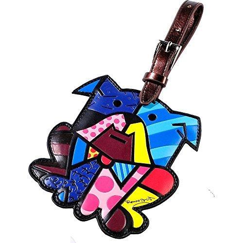 Romero Britto Luggage Tag ID Custom Name (Multicolor/Dog) by Romero Britto