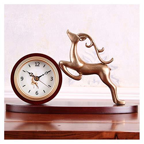 Reloj de mesa American Fawn Desk Clock Retro Creativo Reloj de moda Casa de la sala de estar Desktop Decoration Hotel Small Table Reloj Reloj Regalo Reloj de mesa de escritorio ( Size : A )