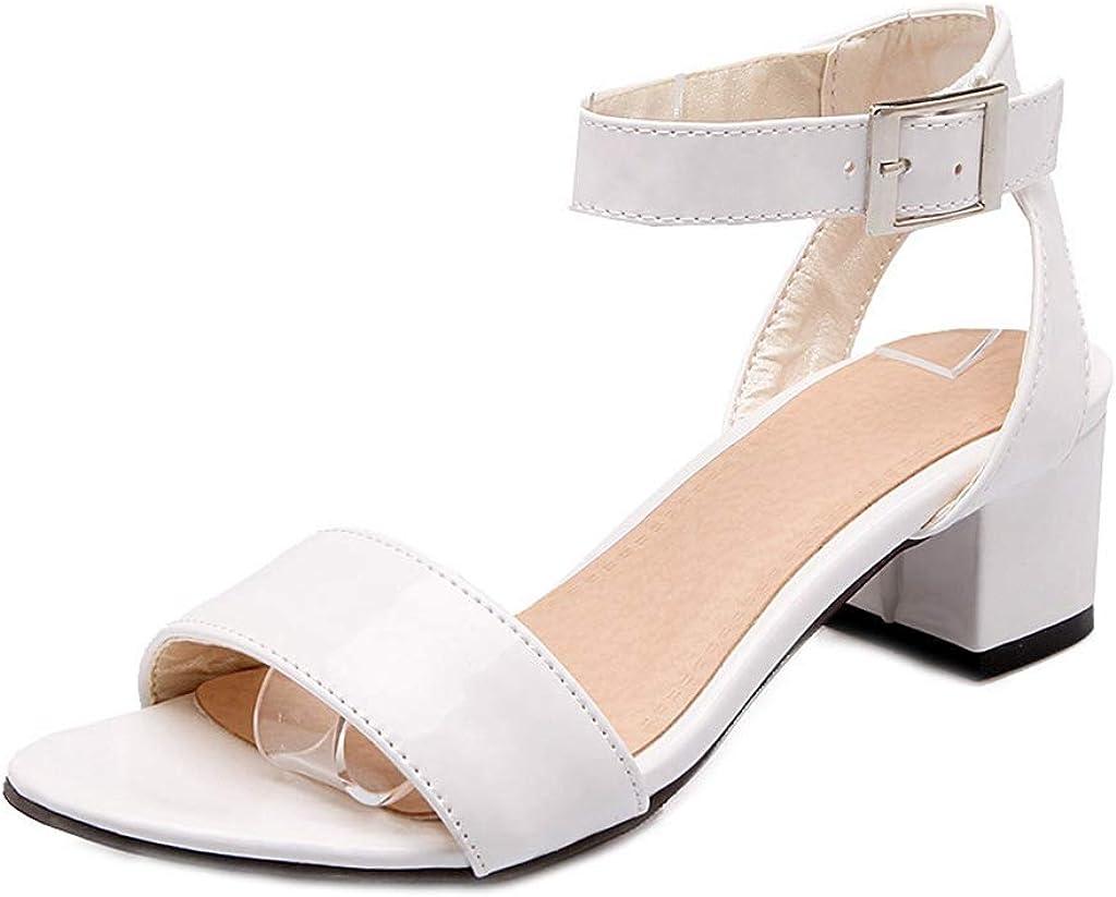 MIOKE Women's Open Toe Block Low Heel Sandals Single Band Ankle Strap Summer Chunky Dress Heeled Sandal