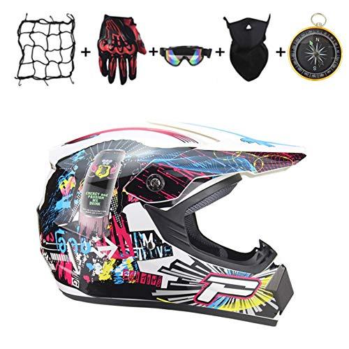 IURIMA Casco de motocross unisex de cara completa, para Downhill Quad Enduro ATV, casco de protección para hombre y mujer, casco de moto de cross, juego de guantes y máscara (59-60), XL)