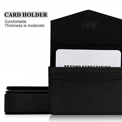 FYY Business Card Holder, Handmade Premium Leather Business Name Card Case Universal Card Holder with Magnetic Closure (Hold 30 pics of Cards) Black Photo #4