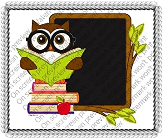 1/8 Sheet ~ Reading School Owl and Chalkboard ~ Edible Cake/Cupcake Topper!!!