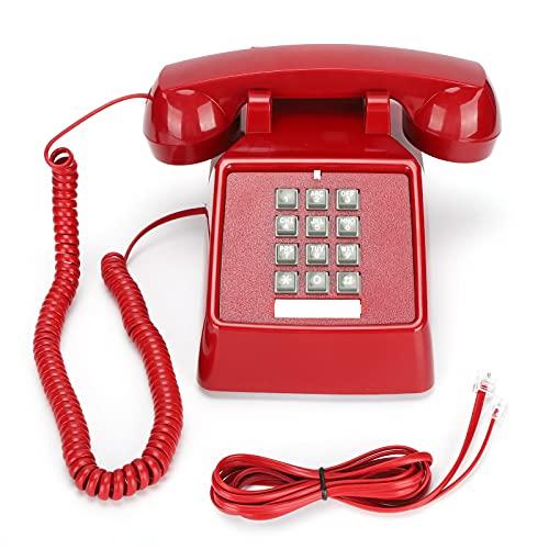 Garsentx Teléfono Fijo, teléfono Fijo Retro Teléfono de sobremesa Multifuncional, teléfonos con Cable Teléfono Fijo con Cable de sobremesa con súper Timbre Negro, para el hogar, la Oficina.