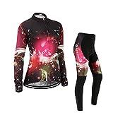 (Cojín 3D)(traje tamaño:M) mujer para Moda transpirable manga Jerseys chaleco rompevientos maillot de ciclismo los larga ropa sudo rendimiento