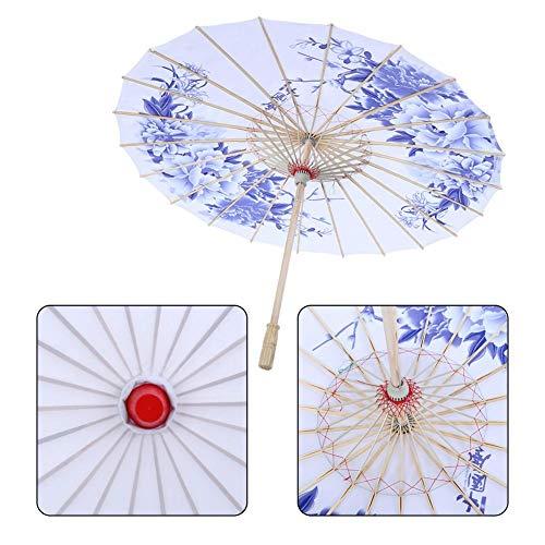 Diyeeni Ombrellone in Cinese Tradizionale Realizzato in Tessuto Resistente, Diametro dell'ombrello 82 cm, Manico in Legno 55 cm, Meraviglioso Costume da Ballo Fotografia rifornimenti di Arte(Blu)