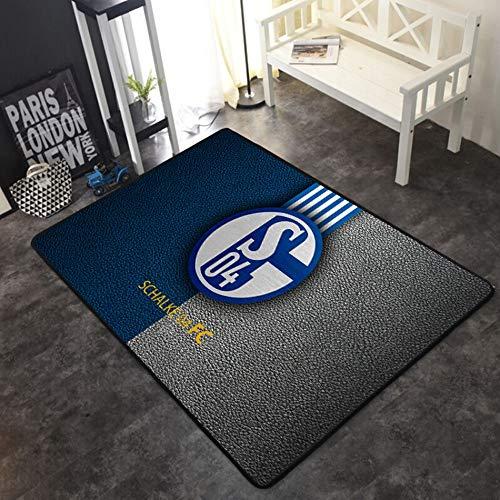 CXJC Club de fútbol 3D impreso y teñido alfombra estampada, espesor de 0,6 cm deportes y aptitud, estera a prueba de humedad, estera de cabecera suave y cómoda en el dormitorio (Color : Re)