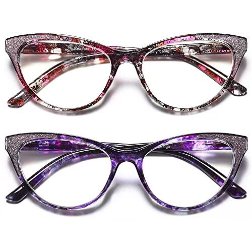 Reading Glasses Women Cateye +1.5-2 Pair Computer Blue Light Blocking Glasses Readers Ultra Lightweight Eyeglasses Reduce Eye Fatigue