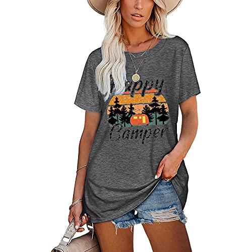 Mayntop Camiseta para mujer de verano con estampado de arco iris, estampado de leopardo, manga corta, blusa suelta con cuello en O, G-gris., 40