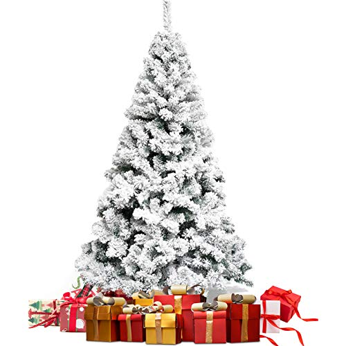 Snow Flocked Christmas Tree 6ft, Artificial Christmas Tree Hinged Xmas Tree 700 Branch Tips Unlit White Pine Christmas Tree for Holiday Festival Decoration with Storage Bag and Metal Stand
