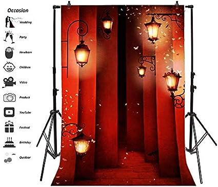 5x7ft Ancient Building Backdrop Vinyl Photography Background Retro Lantern Moths Around Red Light Halloween Gloomy Scene Children Adult Photo Vedio Studio Props
