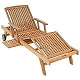 DIVERO GL05660 Mehrfach verstellbare Sonnenliege Gartenliege Relaxliege Liege Holzliege Teak Holz...