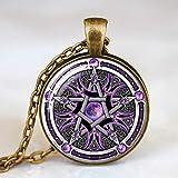 FUKAI Moda Simple Oculto Símbolos De Estrellas Satánicas Los Signos De Estrellas Invertidos Pentagrama Invertido Pentagrama Satánico Cúpula Collar De Cristal